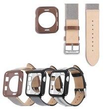 New Genuine Leather Canvas Watchband For Apple Watch 4/3/2/1 Sport Bracelet Wristband iwatch 44/42/40/38mm Replacement Buckle hoco new genuine leather 44 42 40 38mm watchband for apple watch 4 3 2 first layer cattle leather strap bracelet for iwatch