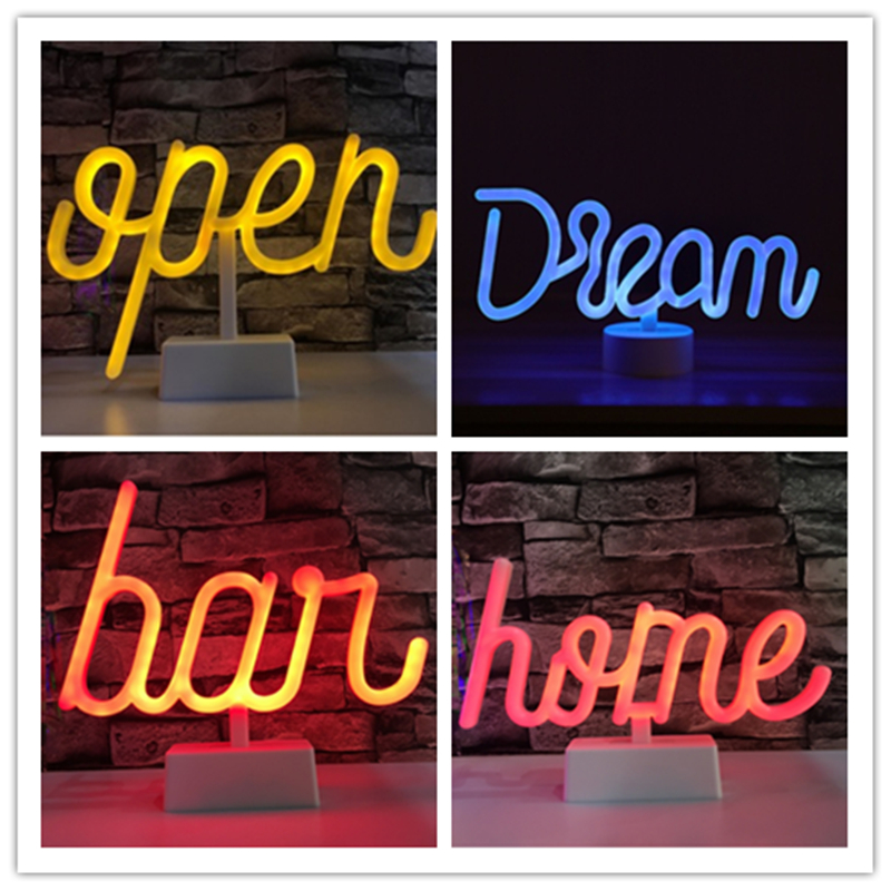 LED Neon Lights Table Lamp Letter Sign Art Decorative for Holiday Wedding Party Bar Shop Bedroom Room Window Open Words Decor image