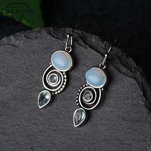 Inlaid Aqua Topaz Earrings Creative Rotating Water Drop Pear-shaped Earrings for Women 925 Silver Vintage Earrings