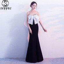 цена на Skyyue Formal Gowns Strapless Sleeveless Bow Robe De Soiree C140-DS3 Contrast Color Mermaid Boat Neck Evening Dress 2019