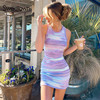 Sweetown Tie Dye Print Knitted Beach Strap Dresses Women Y2K Club Outfits Off Shoulder Slim Sexy Mini Bodycon Dress Summer 2