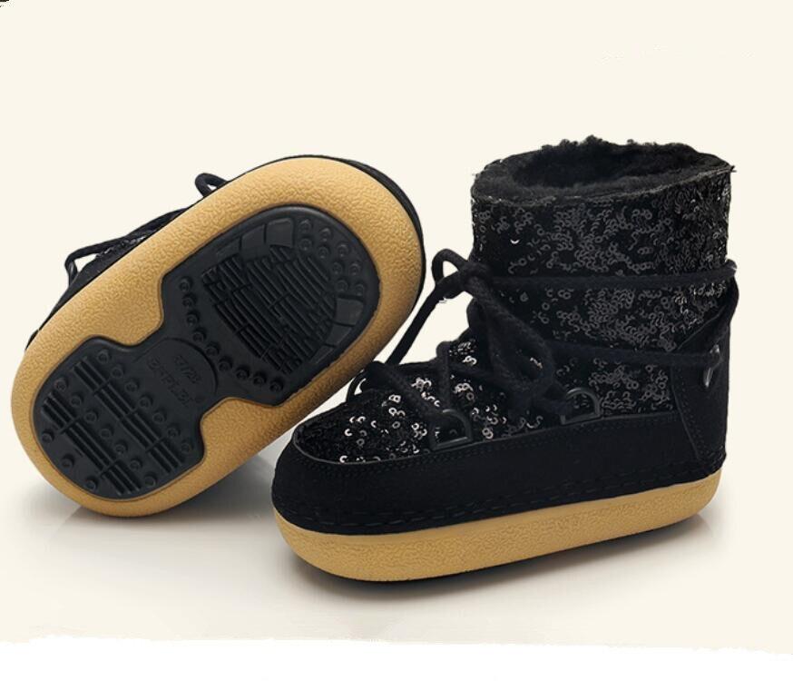 De niños de cuero genuino botas de nieve de invierno de 2019 niñas de lentejuelas zapatos de algodón chico Barco de bebé de terciopelo de algodón cálido botas - 5