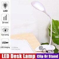 Clip Drahtlose Tisch Lampe 3 Modi Touch 1200mah LED Lesen Licht Studie Schreibtisch Lampe USB Tisch Licht Flexo tisch Lampen