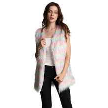 цены Colorful Striped Faux Fur Vest Coat Women Fashion Loose Sleeveless Coat Casaul Jacket x
