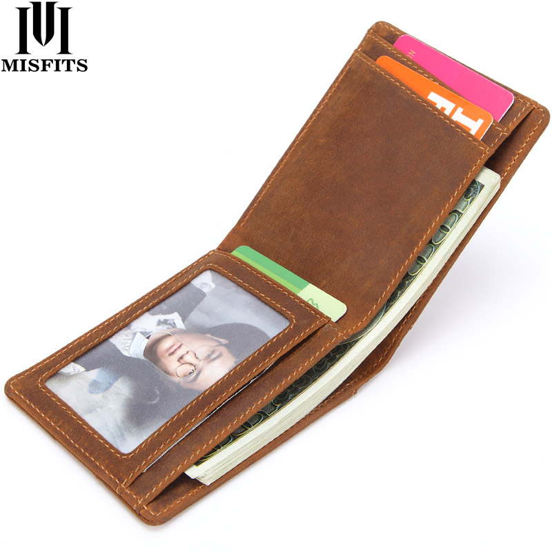 MISFITS Genuine Leather Money Clips Vintage Men Wallet High Quality Cow Leather Male Slim Billfold Casual Mini Purses Card Case