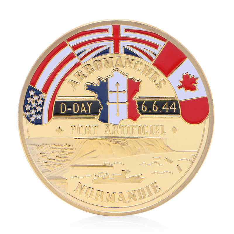 Golden Normandie Arromanches Commemorative Uitdaging Coin Collection Souvenir