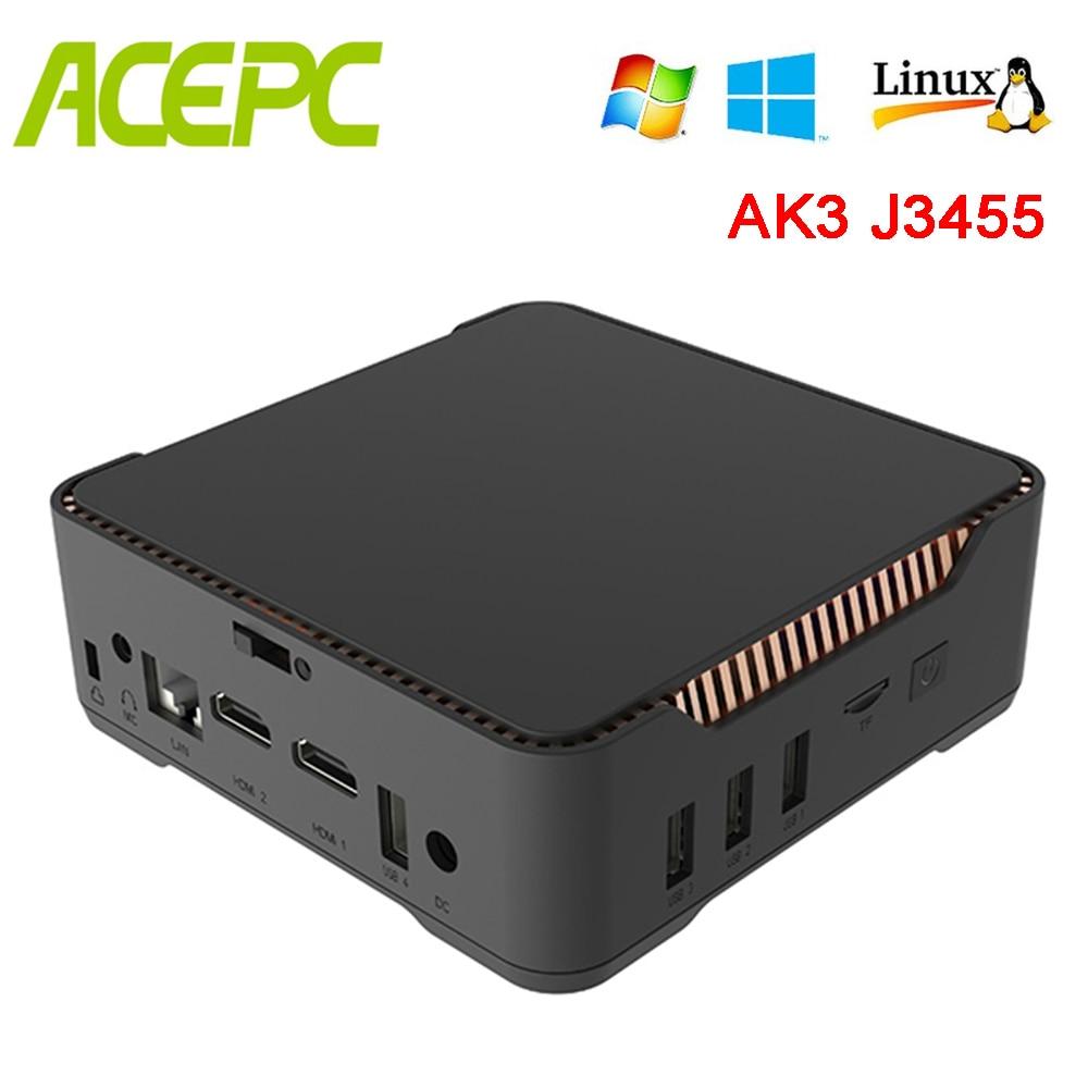 AK3V Mini Pc Windows 10 Intel Core Apollo Lake Celeron J3455 Support 2.5inch HDD Up To 2TB BT 4.2 Wifi 2.4GB/5GB Mini Computers