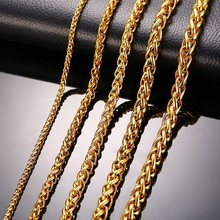 "Stainless Steel Gold Color Triple Rope Chain Men Necklace 24"" Charm Jewelry 3mm 5mm 7mm Wholesale Price"