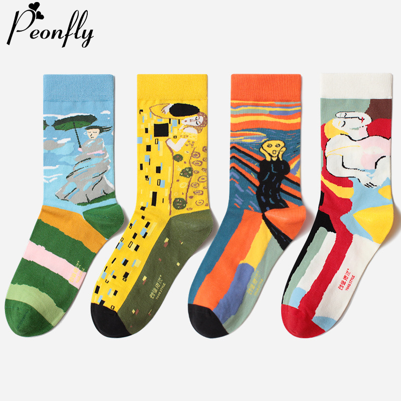 PEONFLY Colorful Happy Funny Men Socks Creative Abstract Printed Cotton Crew Socks Cartoon Casual Colorful Calcetines Hombre