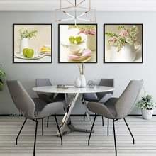 Розовая белая ваза с цветами Картина на холсте столовая посуда