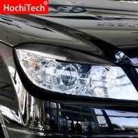 2PCS Luz Capô Do Carro De Fibra De Carbono Farol Sobrancelhas Adesivos Acessórios Para Mercedes Benz C Class W204 C180 C200 C260 c300 C350