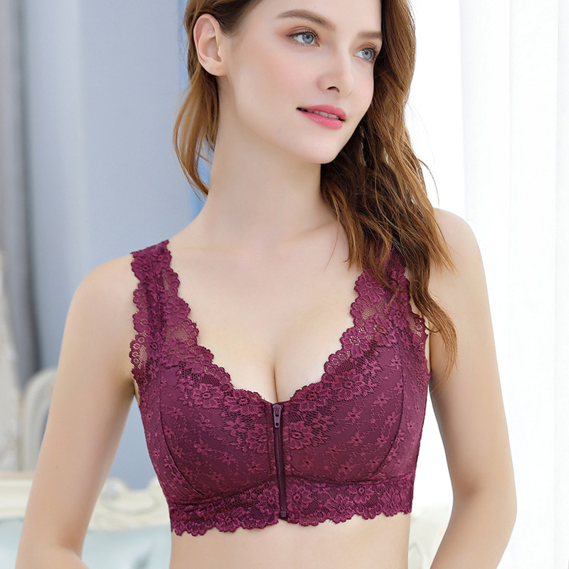 Front Zipper Push Up Bra   Full Cup Sexy Lace Bras   Seamless Wireless Gather Brassiere 6
