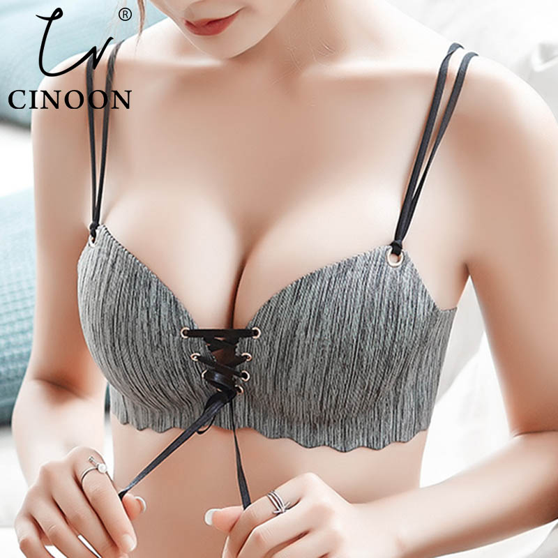 CINOON Super Push Up Bras Sexy Seamless Women's Underwear Wire Free Female Bralette Beauty Back Lingerie Ladies Brassiere