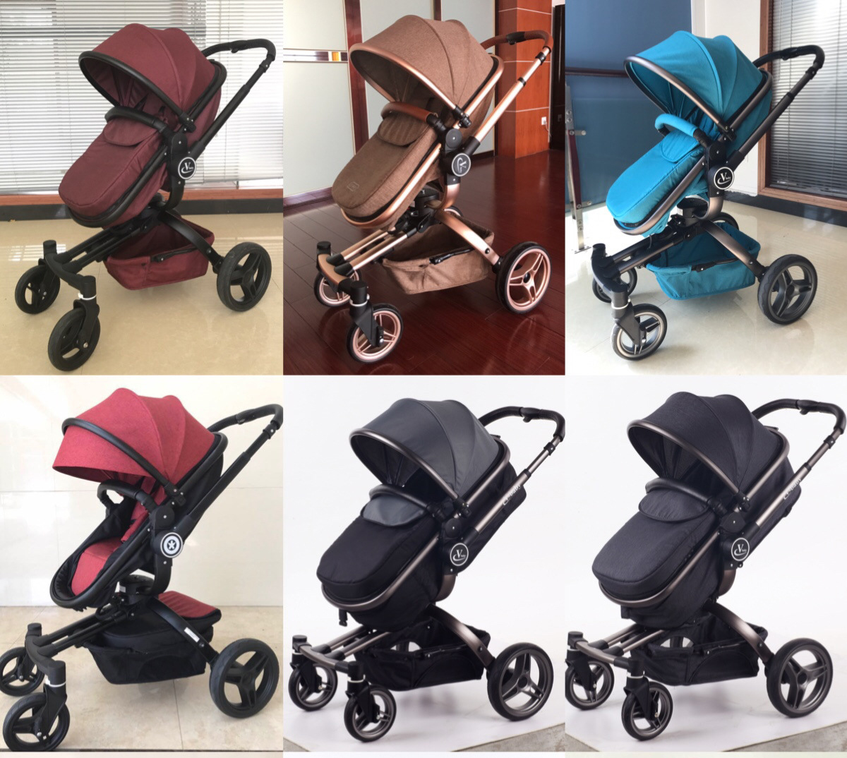Baby Cart Baby Trolley Leather 3 In 1 High Quality Landscape Shockproof 4 Wheels Baby Trolley Can Sit on Reclining Stroller