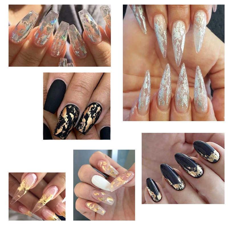 Rikonka Goud Zilver Rood Kleurrijke Nail Art Folie Papier Onregelmatige Aluminium Nail Sticker Manicure Glitter Gel Polish Nail Decoratie