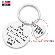 Father-Day-Keychain-Gift Key-Ring Step-Dad Daughter Girls for of Son Teen Men Wedding