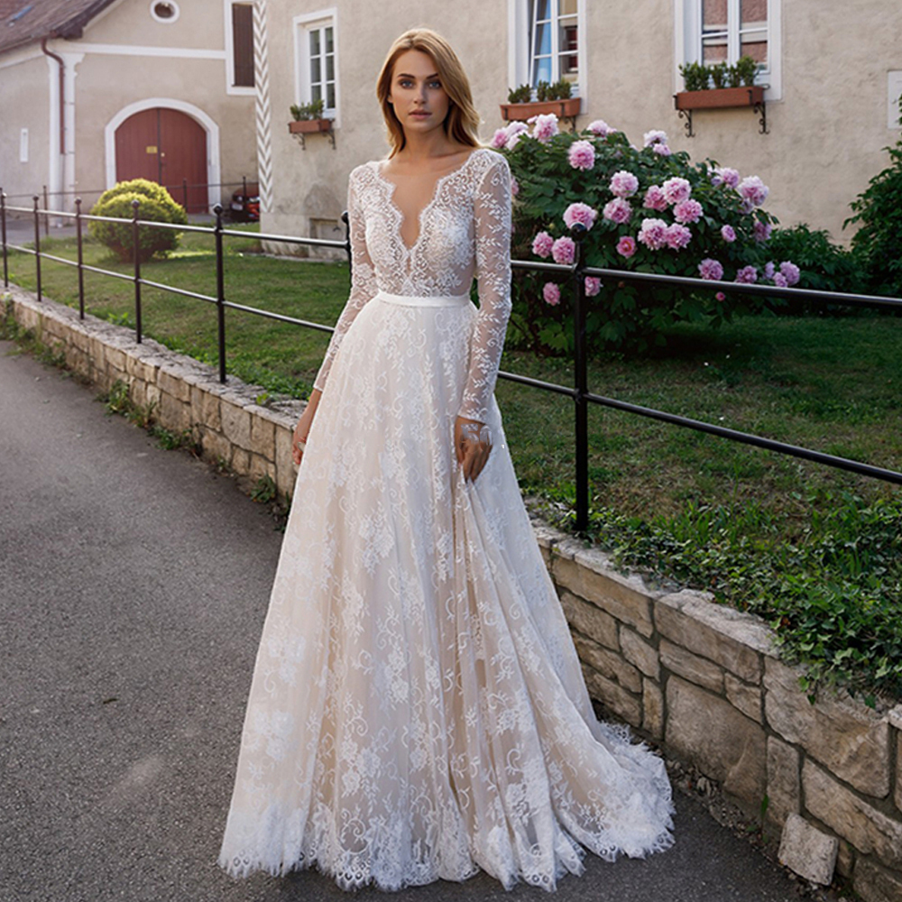 Vestido De Noiva Tulle Long Sleeve Wedding Dress 2020 Full Appliques Lace Bridal Gowns Custom Made Bride Dresses