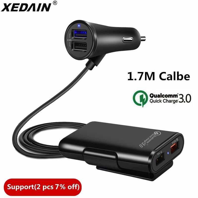 سريعة تهمة QC 3.0 شاحن سيارة 2.4A + 3.1A 4 ميناء USB أجزاء مع 5.6ft تمديد الحبل كابل ل المقعد الخلفي تهمة مع كليب فون