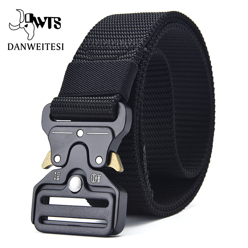 [DWTS]Men Belt Tactical Belt Military Tactical Nylon Belts For Men Army Training Nylon Metal Buckle Waist Belt Outdoor Waistband