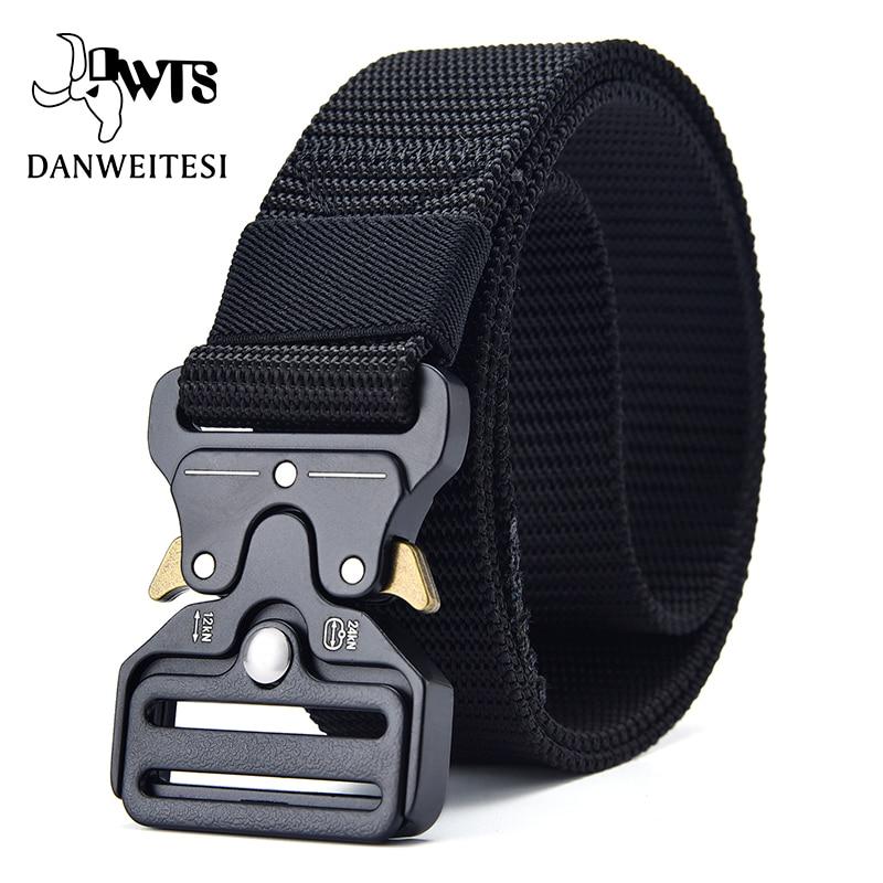 [DWTS]Men Belt Tactical Belt Military Tactical Nylon Belts For Men Army Training Nylon Metal Buckle Waist Belt Outdoor Waistband
