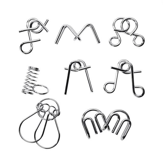 8pcs/Set Montessori Metal Intelligent Lock Wire IQ Mind Brain Teaser Puzzles For Children Adults Anti-Stress Reliever Toys Gifts