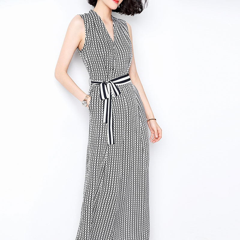 V-neck Waist Thin Slim Feeling Wide Leg Pants Sleeveless Print Casual Jumpsuit Female 2019 New