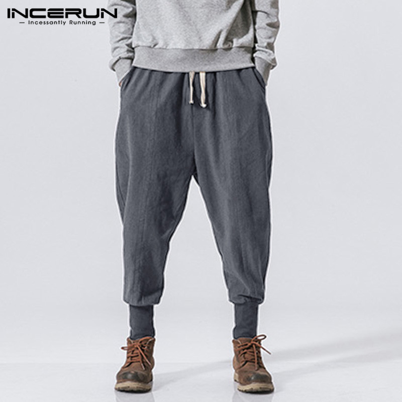 INCERUN Men Harem Pants Drawstring Cotton Joggers Solid 2019 Streetwear Drop-Crotch Trousers Men Baggy Casual Sweatpants S-5XL