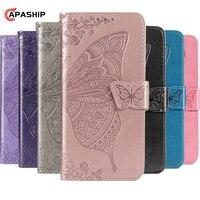 3D mariposa de Color sólido cartera Flip caso para Samsung Galaxy Note 8 9 10 lite S9 S10 S20 más M11 M21 M31 A51 A71 cubierta de cuero
