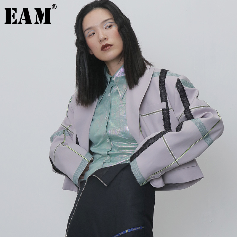 [EAM]  Women Plaid Spit Joint Big Size Blazer New Lapel Long Sleeve Loose Fit Jacket Fashion Tide Spring Autumn 2020 1H269