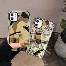 Funda de teléfono divertida de camuflaje con diseño de billete de dólar para iPhone 11 Pro Max XR XS Max X 7 8 Plus, fundas blandas para Funda de iPhone