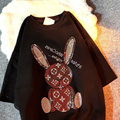 Spring 2021 Hot Sale New Frosted Short-Sleeved Cute Rabbit T-Shirt Women's Thicker Loose Mid-Length Couple Fashion Tops