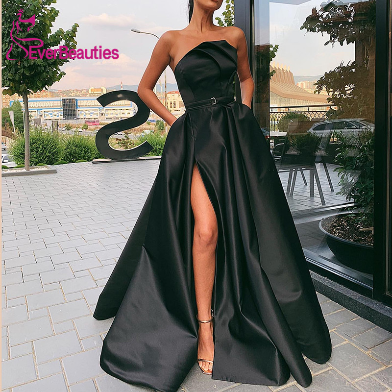 Vestidos De Gala Satin Prom Dresses 2019 With Pockets Side Slit Prom Gown Vestido Formatura Dress For Prom Robe De Soiree