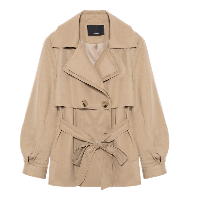 New Khaki Trench Coat Women's Korean 2020 Spring Autumn Coats Casual Short Windbreaker Coat G39