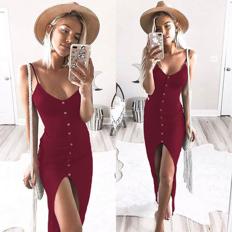 Newly Summer Sexy Fashion <font><b>Dress</b></font> Women Ladies Sleeveless V-Neck Skinny Solid Button High Waist Ankle-Length <font><b>Dress</b></font> image