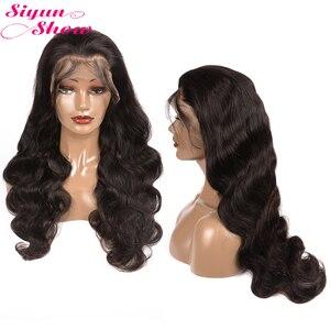 250 плотность парик шнурка 30 дюймов фронтальная Hd прозрачное тело волна Синтетические волосы на кружеве парик 13x4 бразильские волосы волнист...