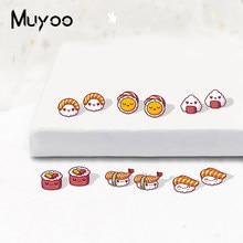 Nova moda kawaii sushi acrílico epóxi brincos dos desenhos animados comida japonesa sushi sashimi ícones arylic resina brincos