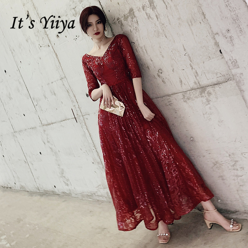 It's Yiiya Evening Dress For Women Plus Size V-neck Evening Dresses Half Sleeve Formal Gowns Long Burgundy Robe De Soiree LF155