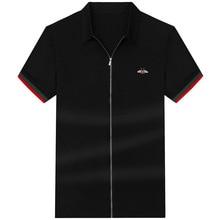 Summer new style loose lapel short sleeve zipper fashion fat cardigan plus extra large men's thin casual shirt