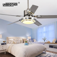 5 Blades Indoor Ceiling Fan light with remote control Brushed Nickel Fans 42 48 52 inch 110v 220v silence good sleep silent