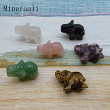Natural Stone Mini Elephant Figurine Tiger Eye Crystal Crafts Aventurine Mini Animal Carved Statue Home Decoration Healing Gifts