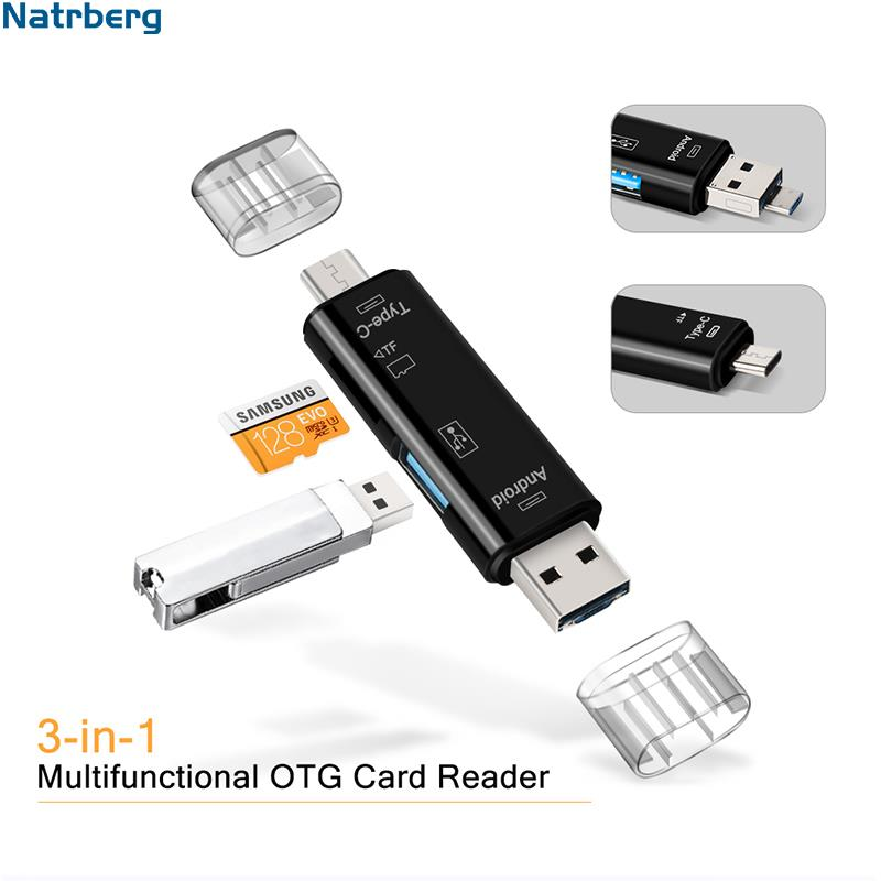USB Stick Reader Type C Micro SD USB OTG Card Adapter 3 In 1 USB-C Flash Stick TF Read For Android Mobile Phone PC Mac