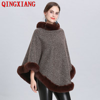 5 Color 2019 Winter Faux Fox Fur Out Street Wear Women Capes Solid Poncho Knitted O Neck Fur Sweater Plus Velvet Warm Pullover