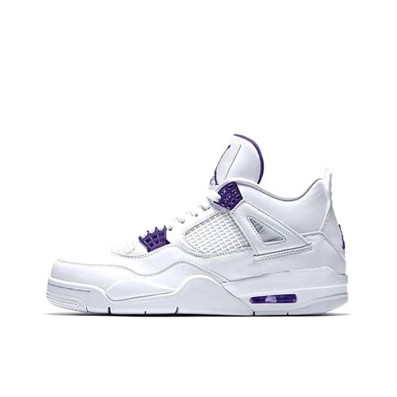Authentique D'air Semelle Rétro 4 Designers AJ4 Basketball Violet Meticallic Voile Rouge Feu Vert Sapin Confortable chaussures De Sport