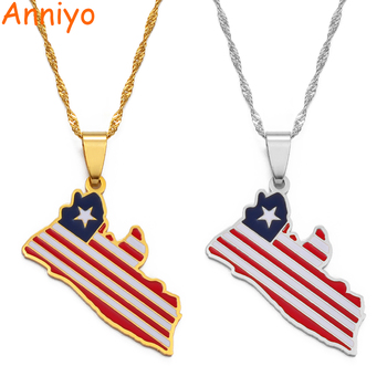 Anniyo Liberia Country Map Flag Pendant Necklaces Silver Color/Gold Color Charm Liberian Maps Jewelry #169021 image