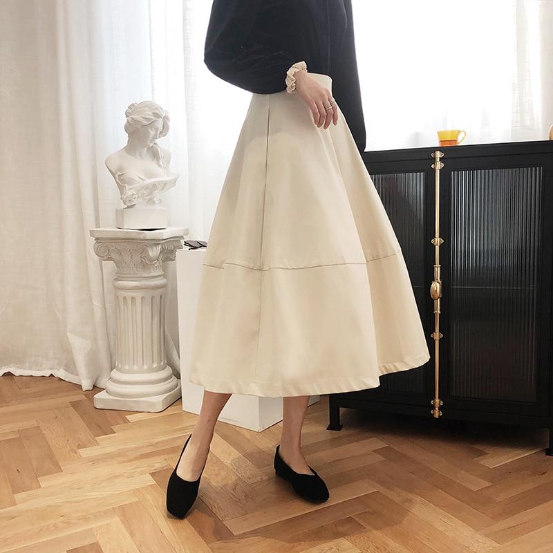 2020 Women A-Line Cotton Skirt Vintage High Waist Long SkirtWomen Summer Skirts With Pocket Saia Faldas Jupe Femme