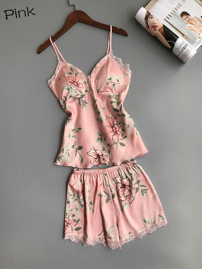 Wontive Summer Pyjama Spaghetti Strap Printing Lace Sexy Women Pajamas V-Neck+Breast Pad  Femme Fashion Flower Pajamas Suit