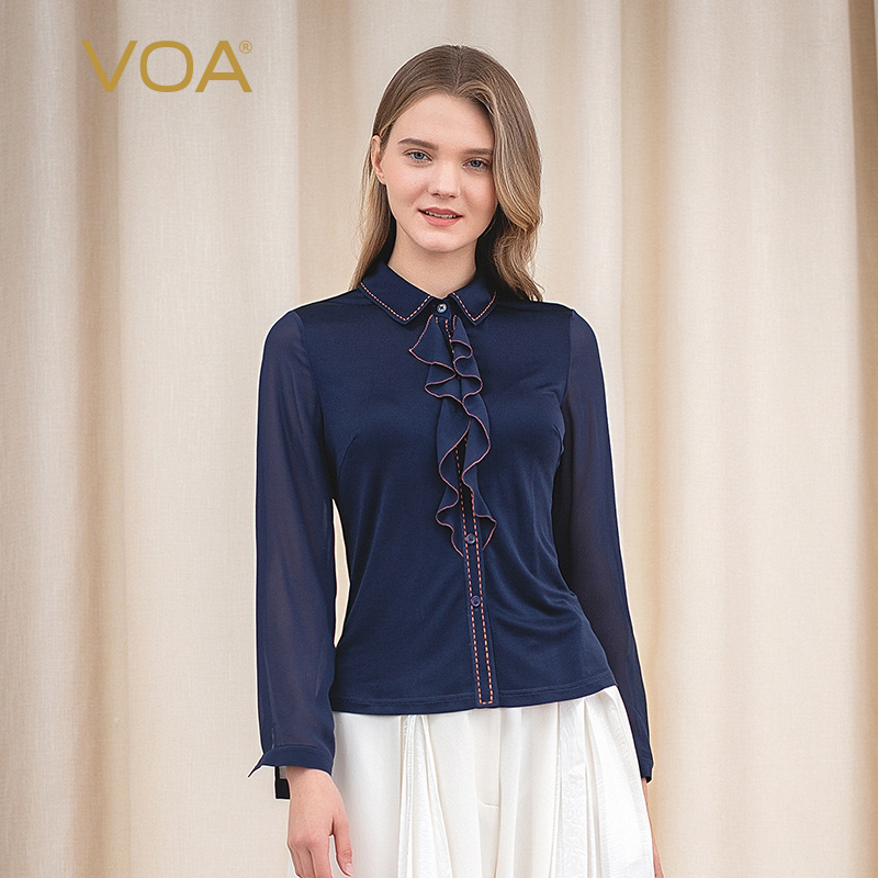 VOA33 33mm seda doble punto negro azul sólido doblez costura hilo abierto decorativo ceroso suave Super elástico camisa B9057