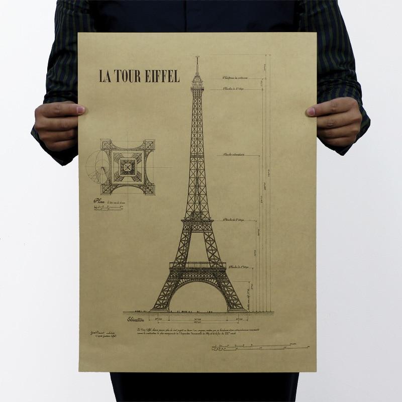 Wall Sticker Vintage Eiffel Tower Building Map Poster Bar Home Decor Painting Retro Kraft Paper 51x35cm