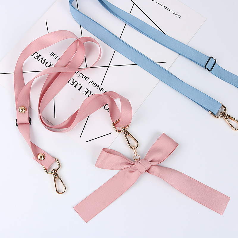 Universal Solid Color Strap Cross-body Suspender Strap Lanyard Bow Simple Bag Adjustable Phone Case Long Sling Women's