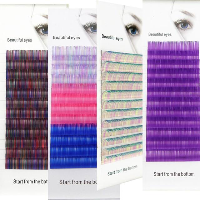 2020 New C/D curl 0.07/0.1mm  8/15mm false lashes blue color eyelash individual colored lashes Faux volume eyelash extensions